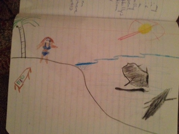 Daddy's drawing of mommy in a bathing suit. I don't know what the topic was.
