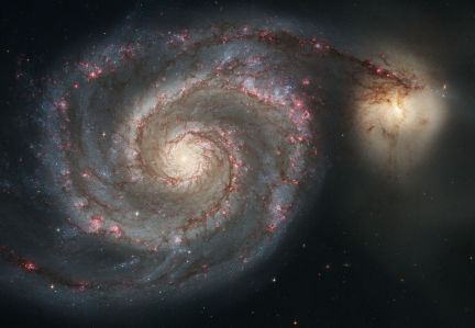 The logarithmic spiral in the Whirlpool Galaxy; image source: en.wikipedia.org