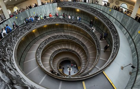 """Vatican Museums Spiral Staircase 2012"" by © User:Colin / Wikimedia Commons. Licensed under CC BY-SA 3.0 via Wikimedia Commons - https://commons.wikimedia.org/wiki/File:Vatican_Museums_Spiral_Staircase_2012.jpg#/media/File:Vatican_Museums_Spiral_Staircase_2012.jpg"