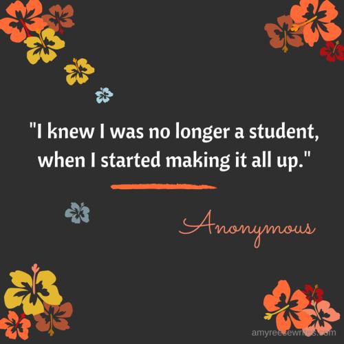 I knew I was no longer a student when I (5)